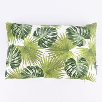 SCHÖNER LEBEN. Kissenhülle Palmen Blatt grün weiß 30x50cm