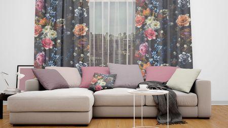 SCHÖNER LEBEN. Vorhang Vorhangschal mit Smok-Schlaufenband Digitaldruck Blumen 245cm oder Wunschlänge – Bild 2