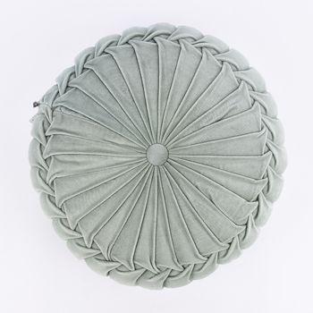 Kissen Samtkissen rund salbeigrün 40x12cm – Bild 1