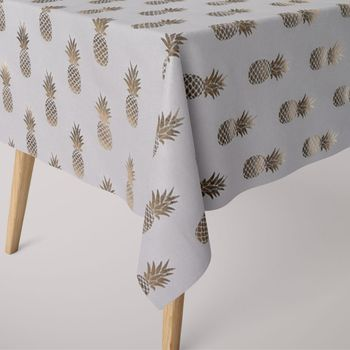SCHÖNER LEBEN. Tischdecke Ananas weiß goldfarbig metallic eckig in verschiedenen Größen – Bild 1