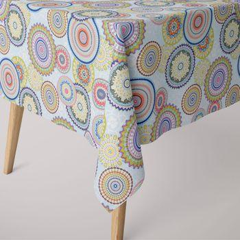 SCHÖNER LEBEN. Tischdecke Mandala Retro Blumen Muster blau bunt eckig in verschiedenen Größen – Bild 1