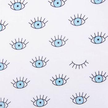 Bügelstoff Abschnitt Augen weiß blau 29,5x21cm – Bild 2