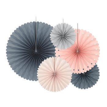 Deko Rosetten Wellenkante Papier 5er Set pastellfarben grau versch. Größen – Bild 1