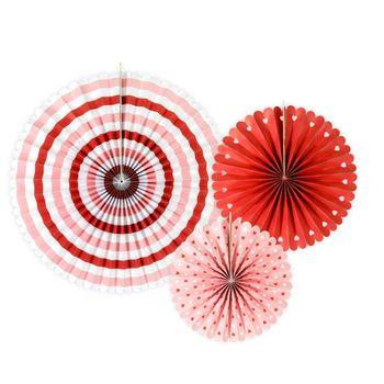 Deko Rosetten Wellenkante Herz Papier 3er Set rot weiß rosa versch. Größen – Bild 1