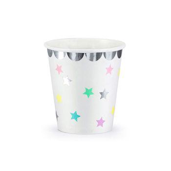 Pappbecher Einmalbecher Einhorn Sterne mit silberfarbigem Rand 6 Stück 180ml – Bild 1