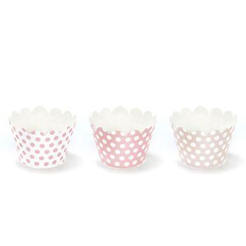 Muffin Cupcake Förmchen Punkte rosa beige weiß 6 Stück 5x7,5x5cm – Bild 1