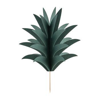 Cupcake Stecker 3D Ananasblätter 6 Stück grün 16,5cm – Bild 1