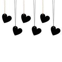 Geschenkanhänger Herz 6 Stück schwarz goldfarbig 4,5cm
