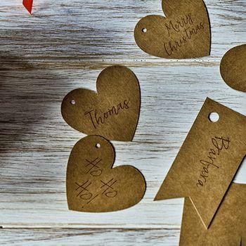 Geschenkanhänger Herz 6 Stück braun rot schwarz 4,5cm – Bild 3