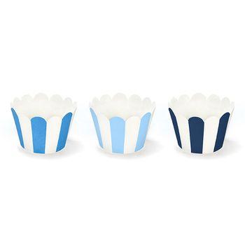 Muffin Cupcake Förmchen Streifen 6 Stück blau weiß 5x7,5x5cm