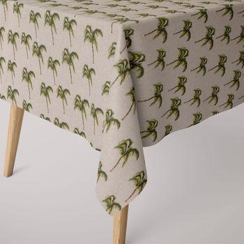 SCHÖNER LEBEN. Tischdecke Leinenoptik Palme beige grün braun eckig in verschiedenen Größen – Bild 1