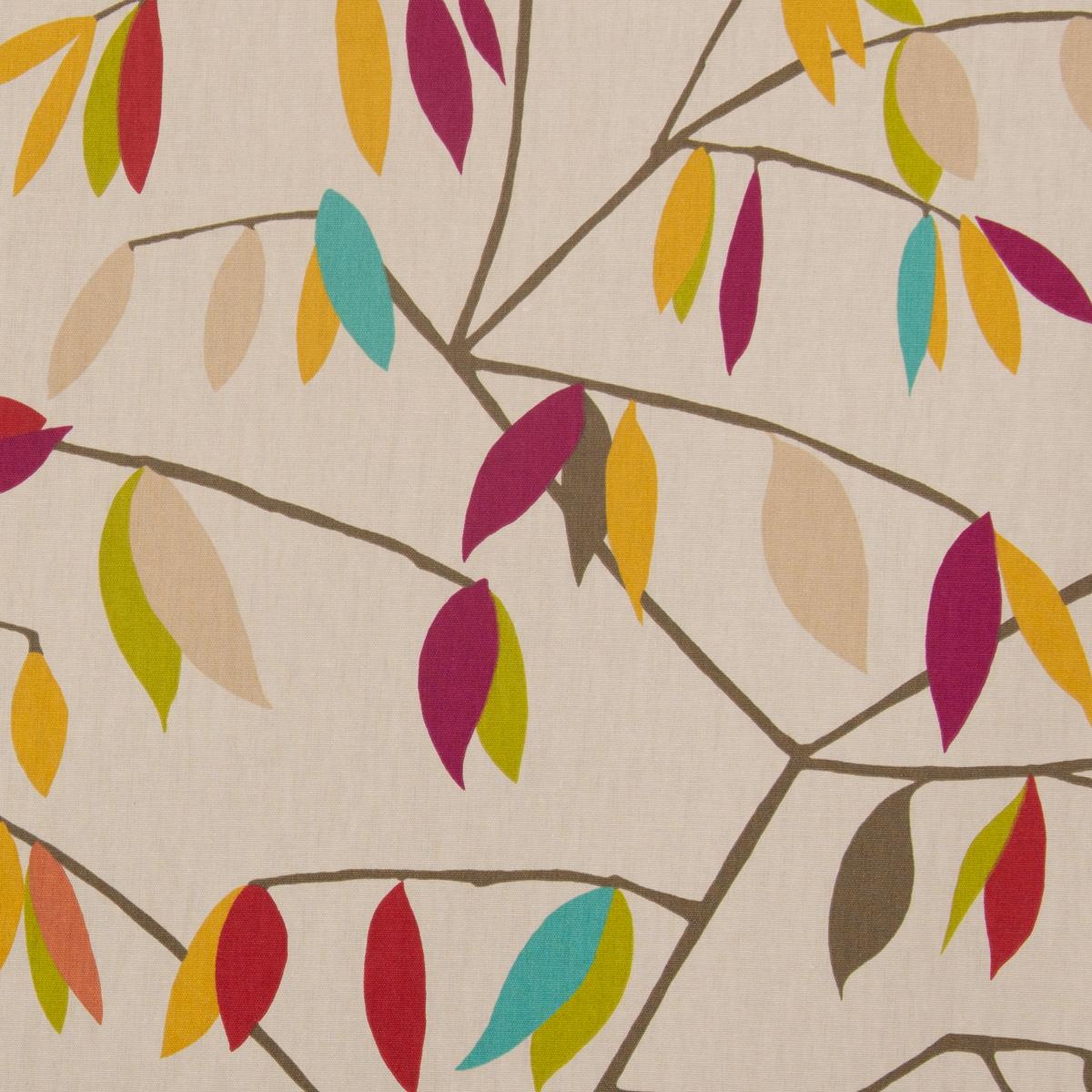 Dekostoff Coco Plum Rossini beige mit Blätter braun grün rot 1,38cm Breite