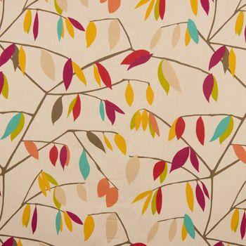 Dekostoff Coco Plum Rossini beige mit Blätter braun grün rot 1,38cm Breite – Bild 2