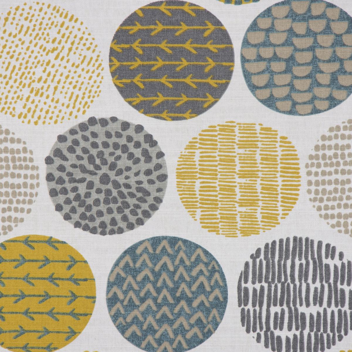 Panama Dekostoff Baumwollstoff Casa Saffron creme Kreise in grau braun verschiedene Motive 1,4m Breite