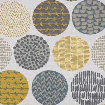 Dekostoff Baumwollstoff Casa Saffron creme Kreise in grau braun verschiedene Motive 1,4m Breite – Bild 1
