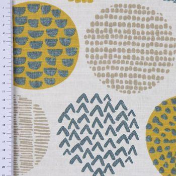 Dekostoff Baumwollstoff Casa Saffron creme Kreise in grau braun verschiedene Motive 1,4m Breite – Bild 4