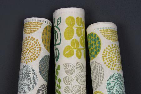 Dekostoff Baumwollstoff Casa Saffron creme Kreise in grau braun verschiedene Motive 1,4m Breite – Bild 10