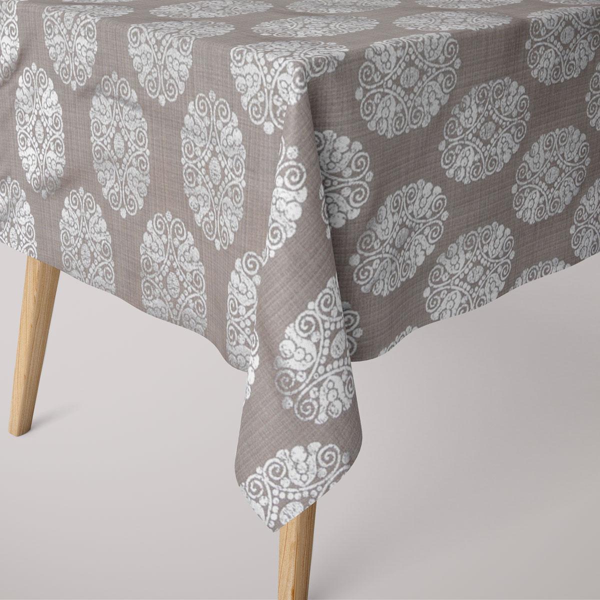 SCHÖNER LEBEN. Tischdecke Ornament Metallicprint taupe silberfarbig eckig in diversen Größen