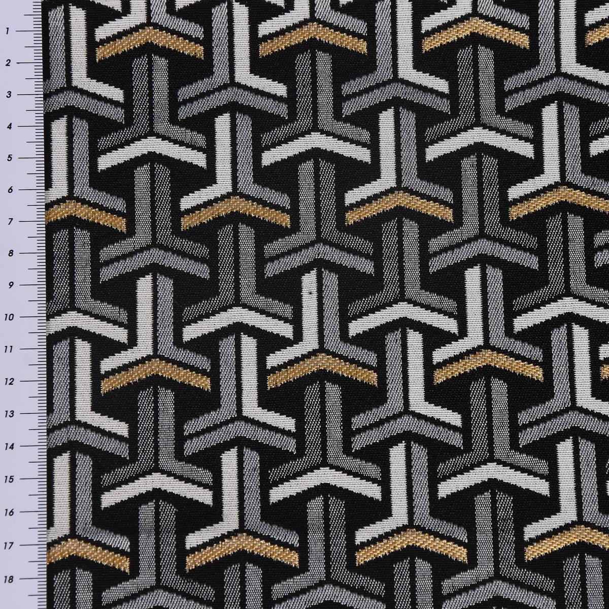 sch ner leben tischdecke jacquard grafisch t schwarz wei goldfarbig eckig in div gr en. Black Bedroom Furniture Sets. Home Design Ideas