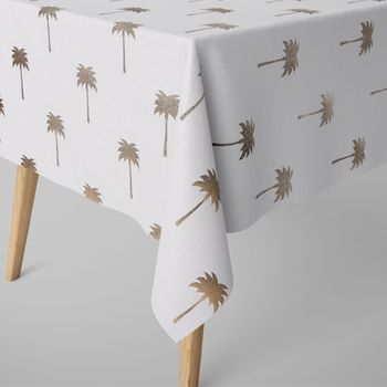 SCHÖNER LEBEN. Tischdecke Palmen goldfarbig eckig in verschiedenen Größen – Bild 1