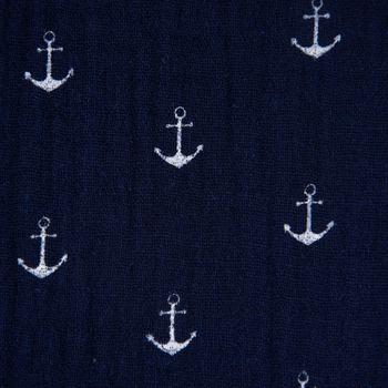 Bekleidungsstoff Double Gauze Musselin Windelstoff Anker dunkelblau weiß 1,30m Breite – Bild 1
