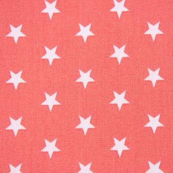 Baumwollstoff Sterne koralle weiß 1,40m Breite – Bild 3