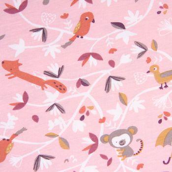 Baumwolljersey Jersey SAFY Affe Vögel Fuchs Blätter rosa grau weiß beere 1,6m Breite – Bild 1