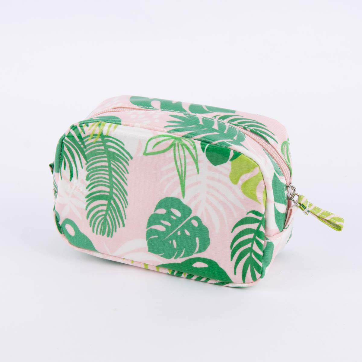 Kosmetiktasche Tropical Palms Rosa Grun 16x6x10cm Wohnen