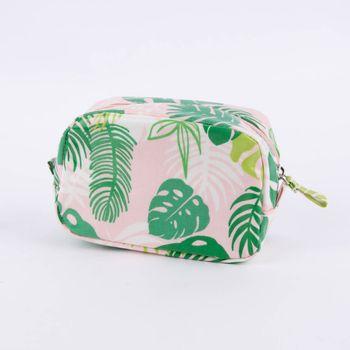 Kosmetiktasche Tropical Palms rosa grün 16x6x10cm – Bild 1