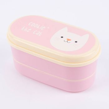 Bentobox Brotzeit-Dose Cookie the Cat 9-teilig Kunststoff rosa 17x9x8cm – Bild 3