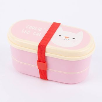 Bentobox Brotzeit-Dose Cookie the Cat 9-teilig Kunststoff rosa 17x9x8cm – Bild 1