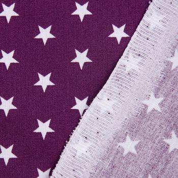 Baumwollstoff Sterne lila aubergine weiß 1,40m Breite – Bild 6