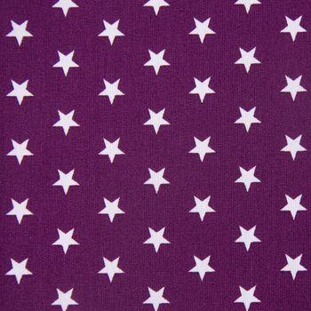 Baumwollstoff Sterne lila aubergine weiß 1,40m Breite – Bild 1