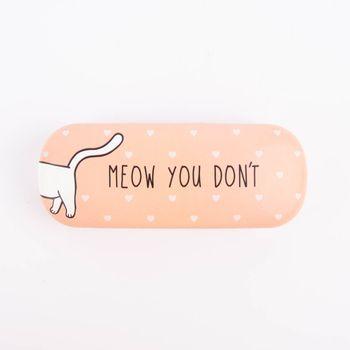 Brillenetui Katze rosa weiß 16x6cm – Bild 3