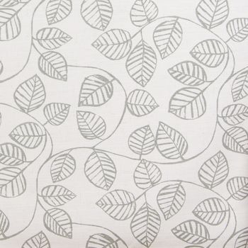 Dekostoff Baumwollstoff Caracus mit Blätter-Rankenmuster grau ecru 1,4m Breite – Bild 1