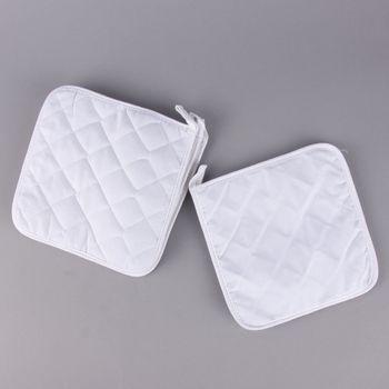 Topflappen Set 4 Stück aus Baumwolle weiß 20x20cm – Bild 1