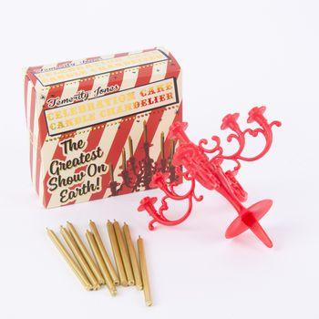 Temerity Jones Deko Tortenstecker Armleuchter rot mit goldfarbigen Kerzen – Bild 1