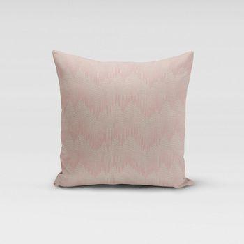 SCHÖNER LEBEN. Kissenhülle Chevron Zacken Punkte natur rosa 50x50cm – Bild 1