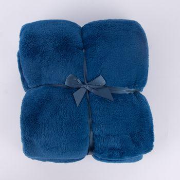 Mikrofaserdecke Kuscheldecke Plaid Justin dunkelblau 150x200cm – Bild 1