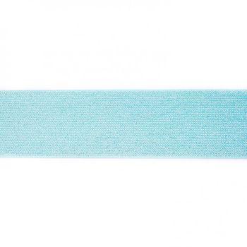 Gummi Band Glitzer türkis silberfarbig Meterware Breite: 5cm