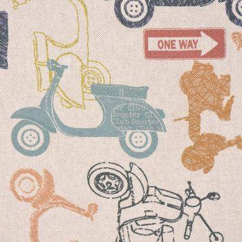 SCHÖNER LEBEN. Tischdecke Motorroller Retro-Roller Vintage mit Schriftzug natur bunt eckig in verschiedenen Größen – Bild 5