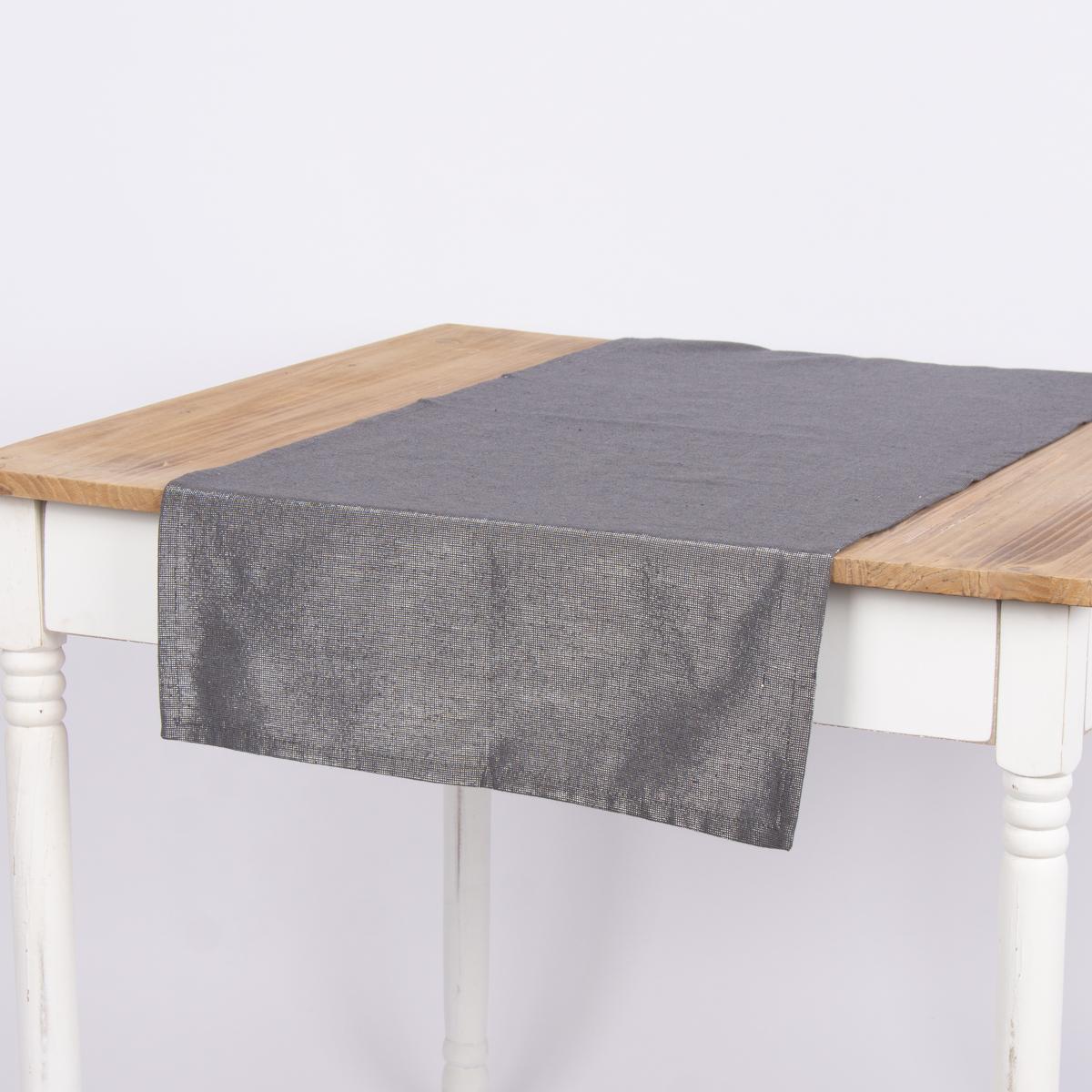 Tischläufer Glamour dunklgrau silberfarbig Lurex 45x150cm
