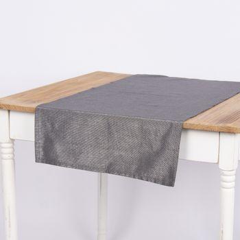 Tischläufer Glamour dunklgrau silberfarbig Lurex 45x150cm – Bild 1