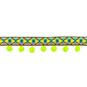 Bommelborte mit Webband Ibiza grün bunt Breite: 5cm