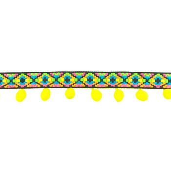 Bommelborte mit Webband Ibiza gelb bunt Breite: 5cm