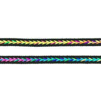 Polyester Band Fischgräten geflochten schwarz neon Farben Breite: 2cm