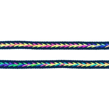 Polyester Band Fischgräten geflochten dunkelblau neon Farben Breite: 2cm