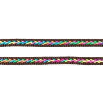 Polyester Band Fischgräten geflochten braun neon Farben Breite: 2cm