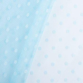Tüll weich Brauttüll Punkte hellblau 1,60m – Bild 3