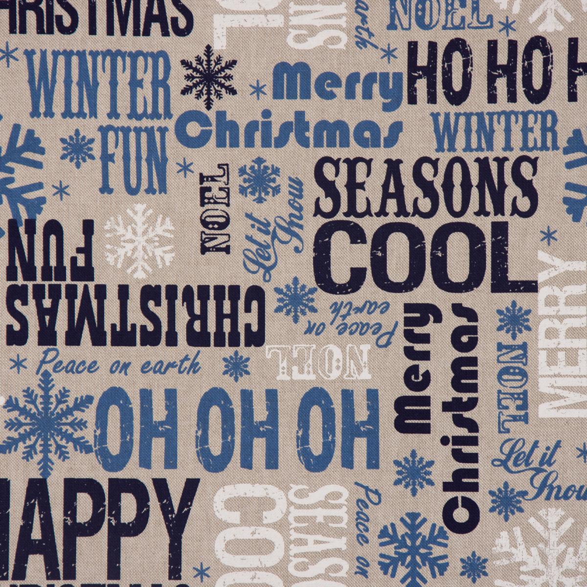 Gardinen Weihnachten.Dekostoff Weihnachten Christmas Schriftzug Natur Weiß Blau Töne 1 40m Breite Meine Gardinen De Der Gardinen Spezialshop Von Schöner Leben